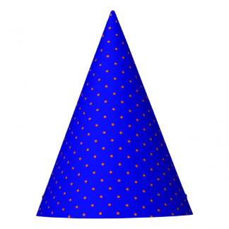 Party Hat Royal Blue with Orange Dots