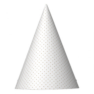 Party Hat White with Golden Dots