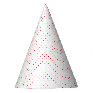 Party Hat White with Red Dots