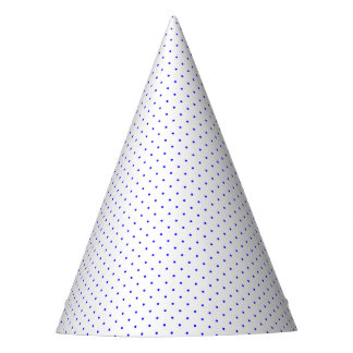 Party Hat White with Royal Blue Dots
