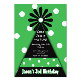 Party Hat with Green Polka Dots Invitation