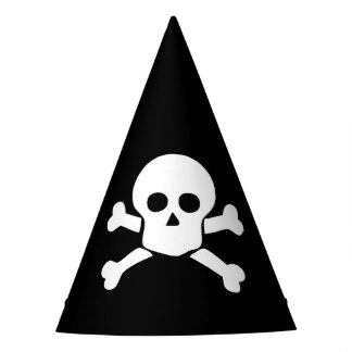 Party Hat with white skull & cross bones on black