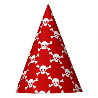 Party Hat with white skulls & cross bones on red
