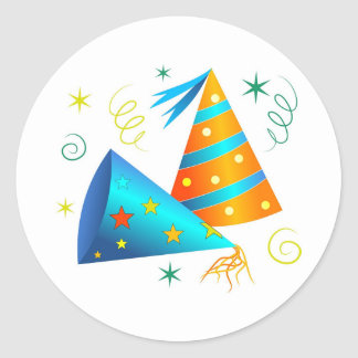 Party Hats Classic Round Sticker