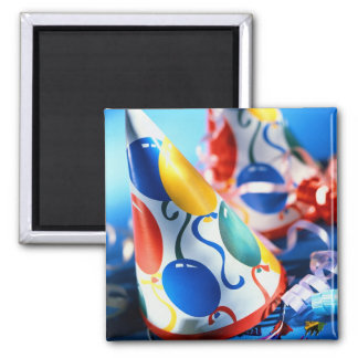 Party Hats 2 Inch Square Magnet