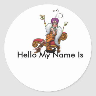 party, Hello My Name Is Round Stickers