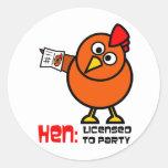 Party Hen Round Stickers