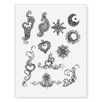 Party henna design temporary tattoo sheet- black