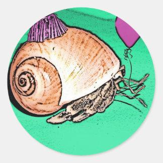 Party Hermit Crab Design Classic Round Sticker
