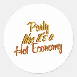 Party Hot Economy Classic Round Sticker