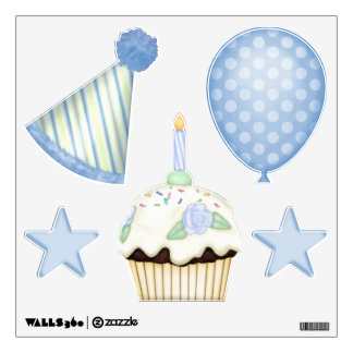 Party in Blue Birthday Wall Decal