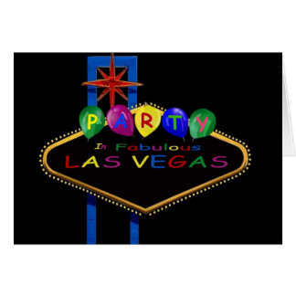 Party In Fabulous Las Vegas Card with Balloons