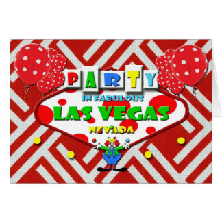 PARTY IN FABULOUS LAS VEGAS CARD WITH CLOWN