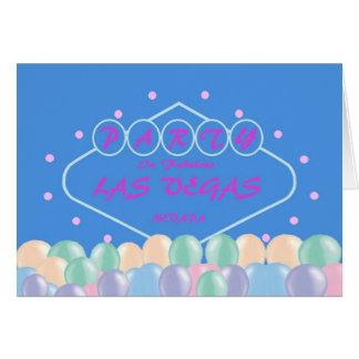 PARTY In Fabulous Las Vegas Pastel Balloons Card