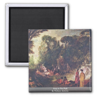 Party In The Park By Watteau Antoine 2 Inch Square Magnet