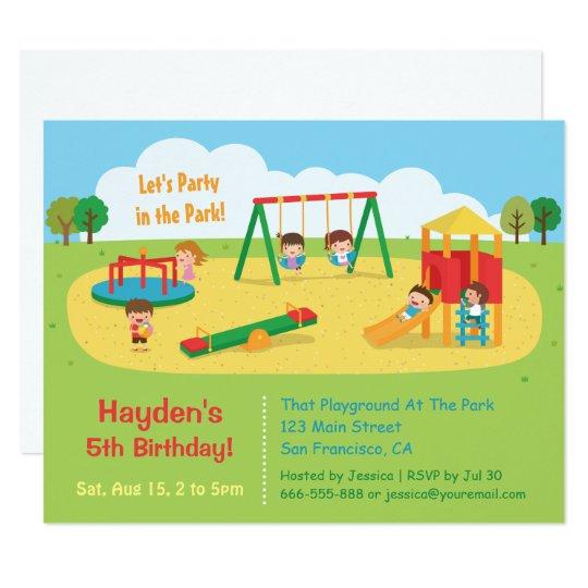 Party In The Park Playground Kids Birthday Invitation Zazzle Com