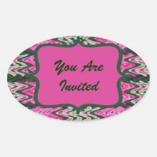 Party Invitaiton Bright green pink pattern Oval Sticker