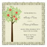 Party invitation, apple tree invitation