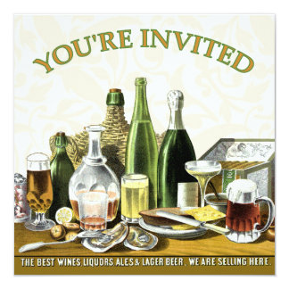 """Party Invitation Beer Champagne, Oysters 5.25"""" Square Invitation Card"""
