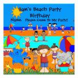 Party Invitation Birthday Beach Boy Girl Children Custom Invitation