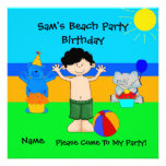 Party Invitation Birthday Beach Boys Children Personalized Announcement