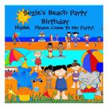 Party Invitation Birthday Beach Girls Children Invite
