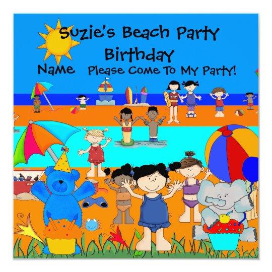 Party Invitation Birthday Beach Girls Children