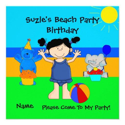Party Invitation Birthday Beach Girls Children Custom Invitations