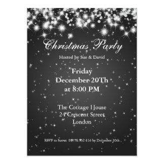 Party Invitation Black Elegant Sparkle Custom Invite