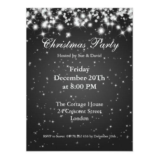 Party Invitation Black Elegant Sparkle Custom