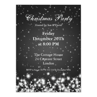 Party Invitation Black Elegant Winter Sparkle Custom Announcements