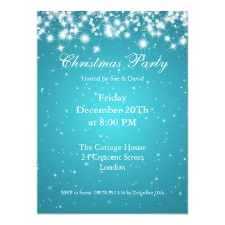 Party Invitation Blue Elegant Sparkle Custom Personalized Announcement