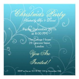 Party invitation blue with Decorative Swirl Custom Invitation