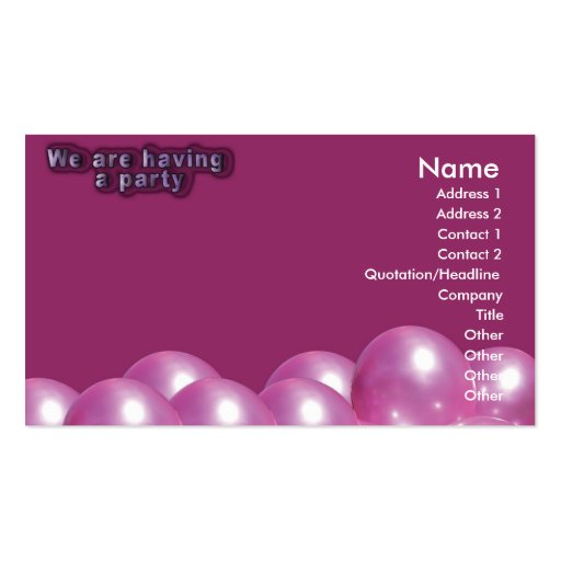 Birthday Party Invitation Card Business Card Templates