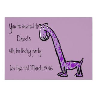 Party invitation cartoon dinosaur purple text