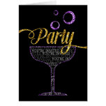 Party Invitation - Champagne Glass and Bubbles Greeting Card