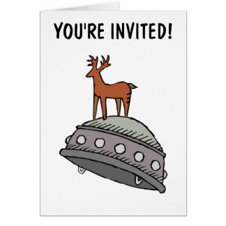Party Invitation: Deer on UFO Card