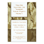 Party Invitation: Desert Tan Military Camouflage Card