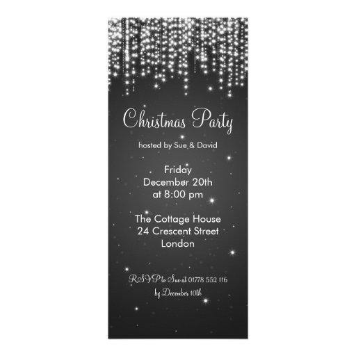 Party Invitation Elegant Falling Sparkle Black Personalized Invitation
