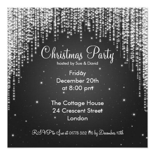 Party Invitation Elegant Falling Sparkle Black Announcement
