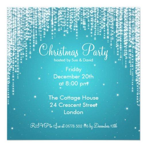 Party Invitation Elegant Falling Sparkle Blue Custom Invitations