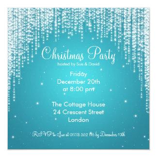 Party Invitation Elegant Falling Sparkle Blue