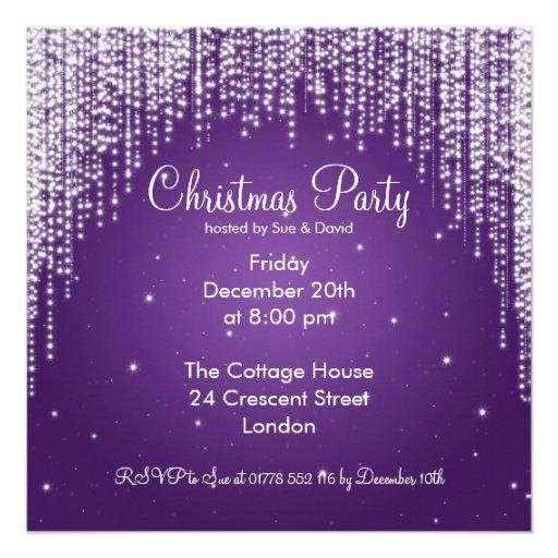 Party Invitation Elegant Falling Sparkle Purple Custom Announcements