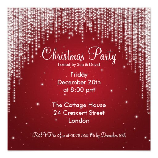 Party Invitation Elegant Falling Sparkle Red Invite