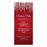 Party Invitation Elegant Falling Sparkle Red