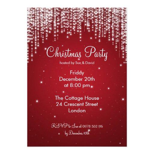 Party Invitation Elegant Falling Sparkle Red Custom Invites