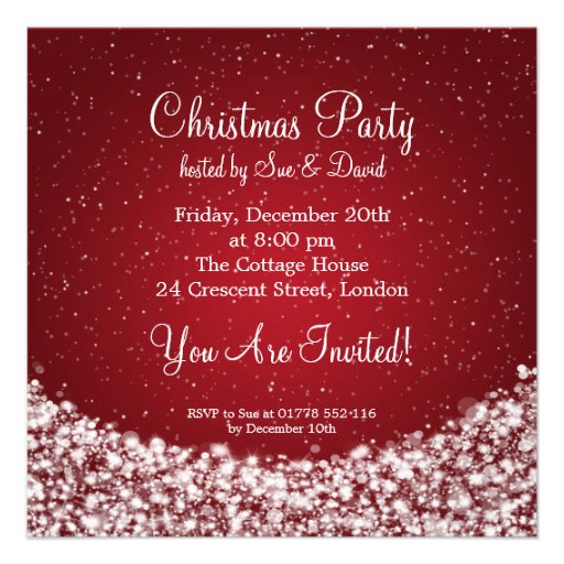 Party Invitation Elegant Night Sparkle Red Custom Invitation
