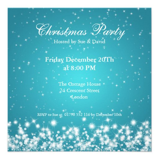 Party Invitation Elegant Sparkle Custom Blue Personalized Invites