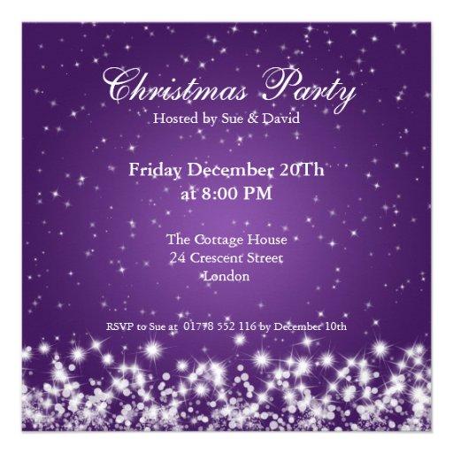 Party Invitation Elegant Sparkle Custom Purple Custom Invitation