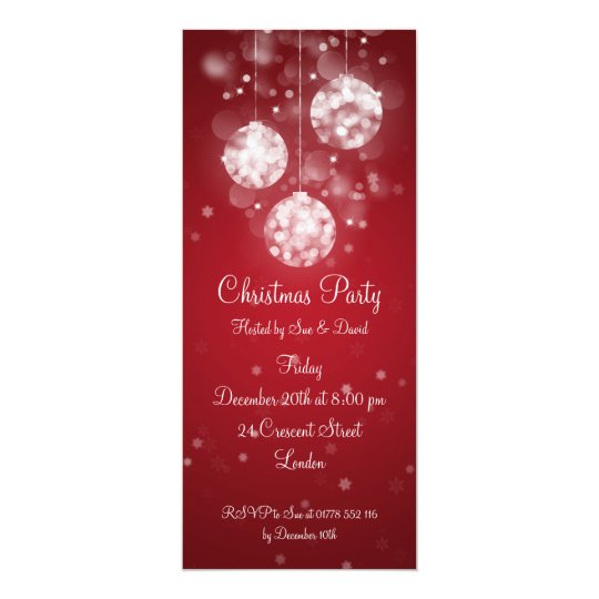 Party Invitation Elegant Sparkling Baubles Red